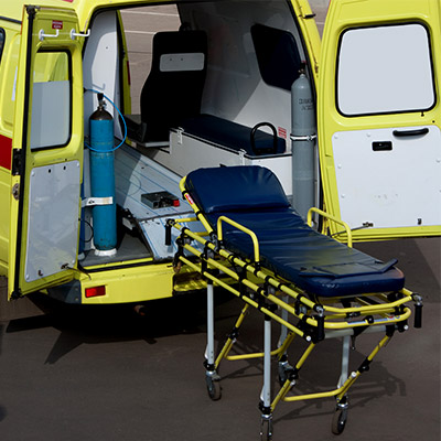 Ambulance gurney, stretchers, remove and insert