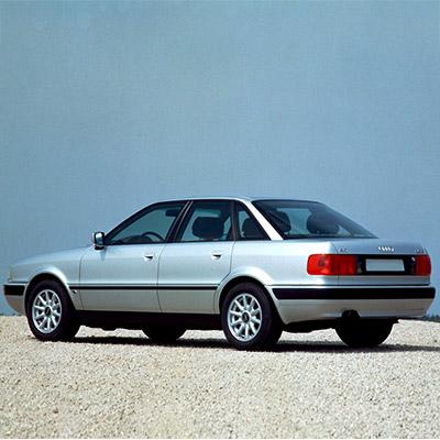 Audi 80 with broken exhaust pipe