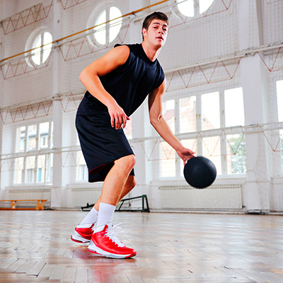 Basketball, one person playing, ball bounce
