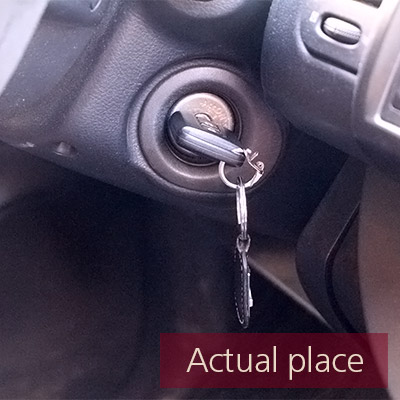Car key, insert and remove from ignition, Nissan Note