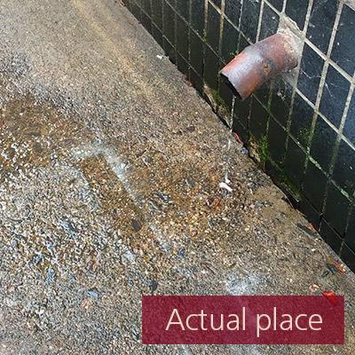 Downspout, drainpipe, drain, after the rain