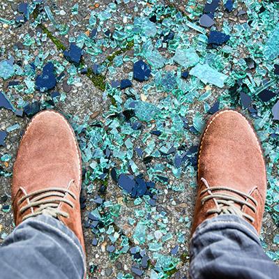 Footsteps on broken glass, slow walk - 02