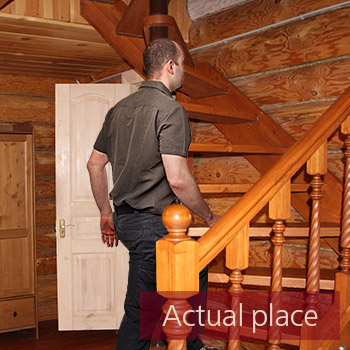 Footsteps, wood stairs, barefoot, squeaks
