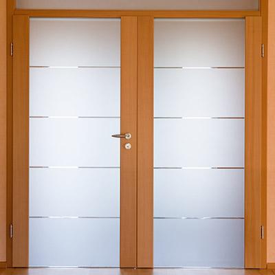 Glass bedroom doors