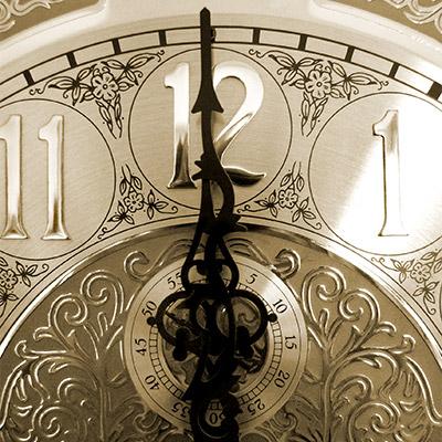 Grandfather clock, strike twelve o'clock, vintage recording