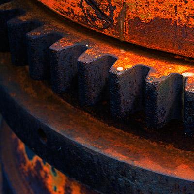 Metal gear wheels rotating - 01