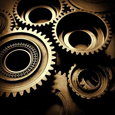 Metal gear wheels rotating - 02