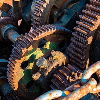 Metal gear wheels rotating - 03