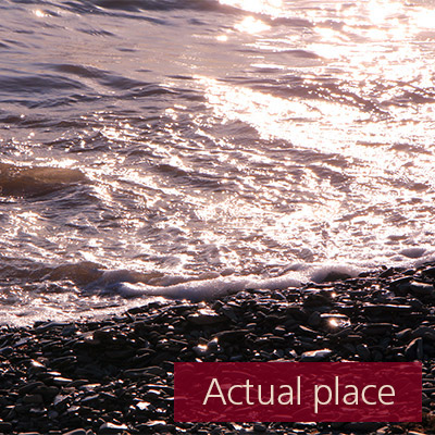 Ocean, sea, small waves, calm, pebble beach - 01