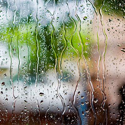 Rain on window, rain stops