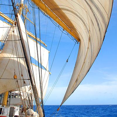 Sails flapping, parachute, flag, fabric
