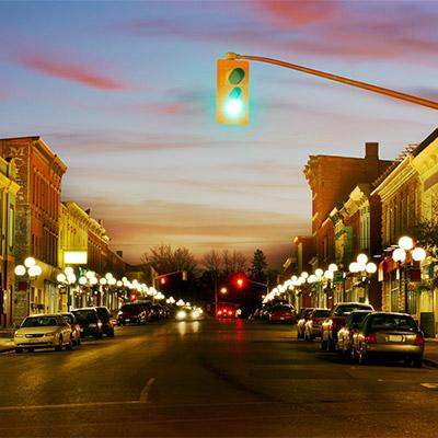 Small town, traffic, pedestrians