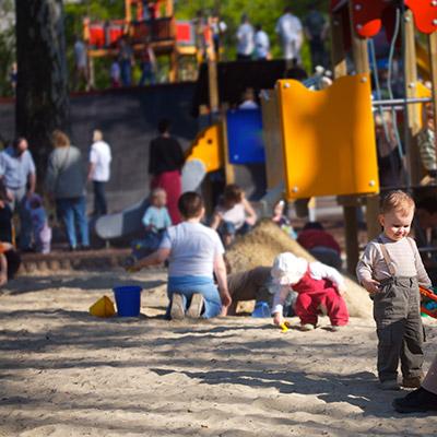 Street, quiet atmosphere, children, no cars