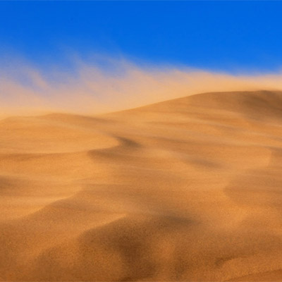 Strong whistling storm wind, winter, desert