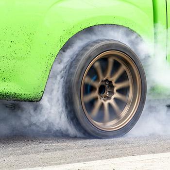 Tire squeal, car skid