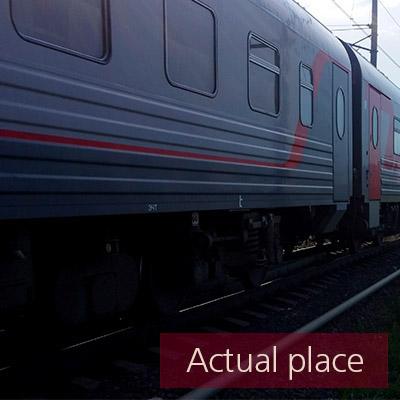 Train pass by, heavy wheel clatter, clanking