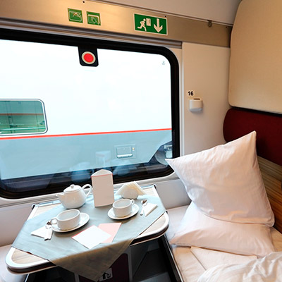 Train compartment, spoon tinkling in a cup