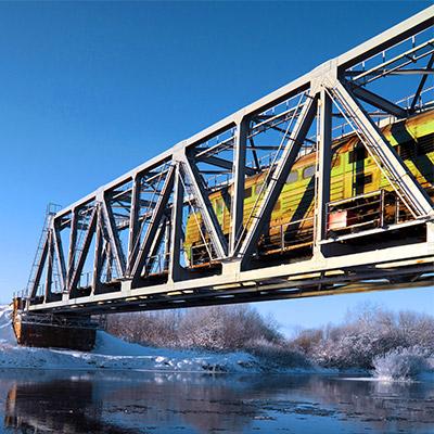 Train, pass by on overhead bridge - 02