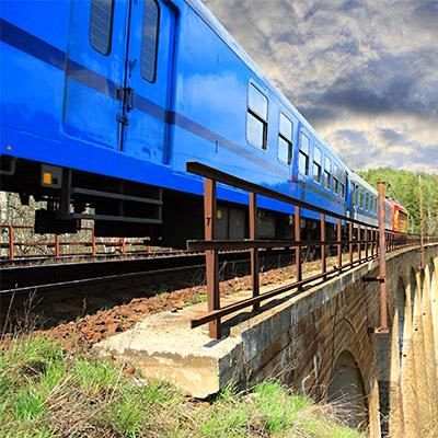 Train, pass by on overhead bridge - 03