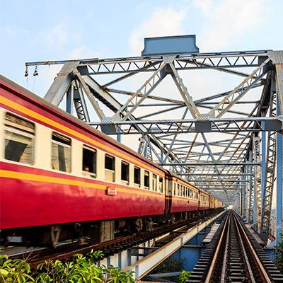 Train, pass by on overhead bridge - 07