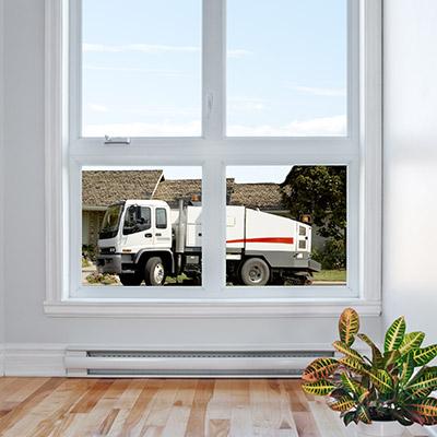Truck works behind closed window