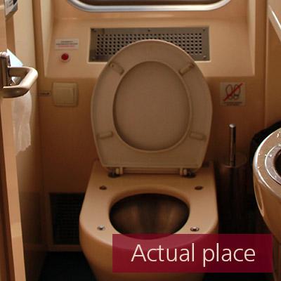 Vacuum toilet in train, WC, flush - 01