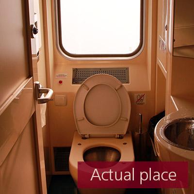 Vacuum toilet in train, WC, flush - 02