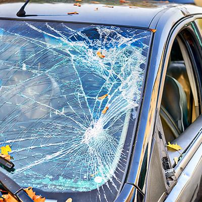 Car windscreen, windshield, broken glass debris